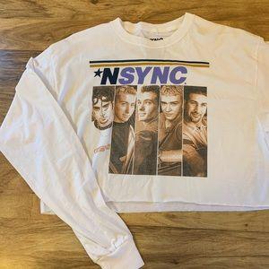 *NSYNC band tee long sleeve cropped shirt NWOT